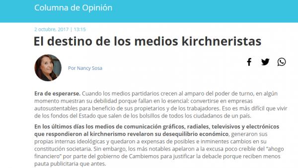 Los medios alternativos repudiamos la nota de Nancy Sosa en Noticias Urbanas