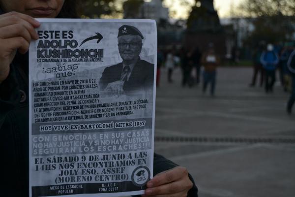 Justicia social y popular: escrache a genocida en Moreno