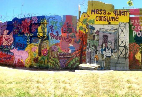 Un mural multicolor en La Boca: cabezas que piensan, manos que pintan